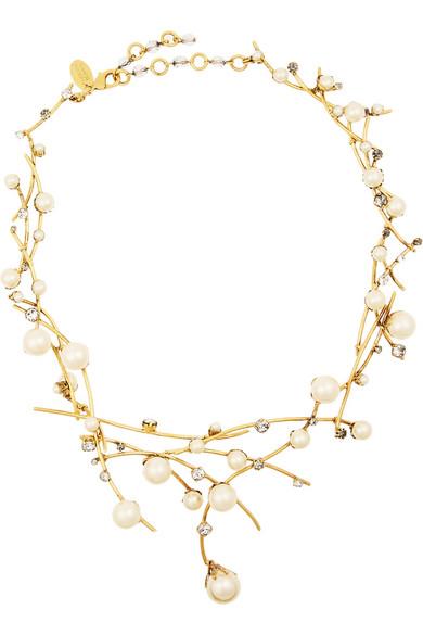 Stratosphere 人造珍珠、施华洛世奇水晶、镀金项链