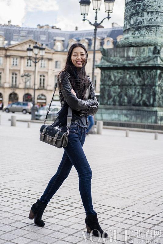 超模刘雯 巴黎街拍