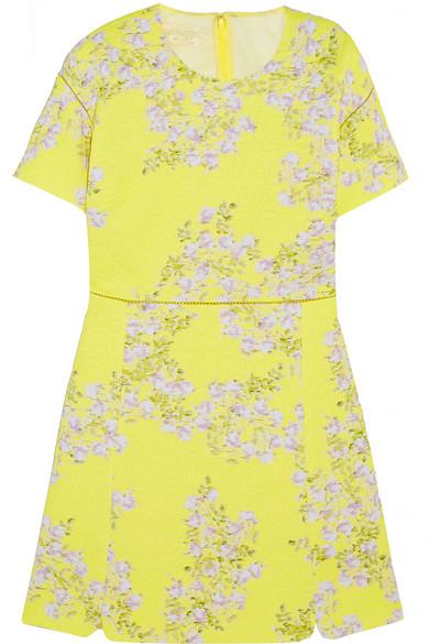 花卉印花马特拉塞凸纹纯棉迷你连衣裙