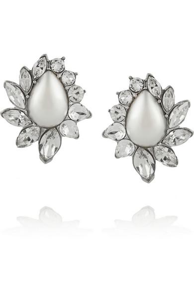 施华洛世奇水晶、人造珍珠、镀银耳钉