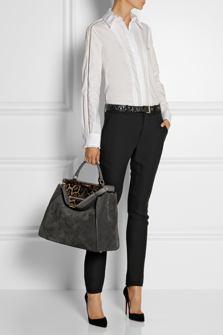 Fendi中号绒面革手提包