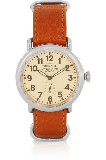 Shinola Runwell不锈钢和皮革手表