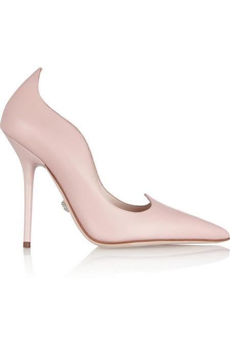 Versace扇贝边皮革高跟鞋