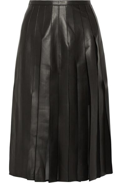 褶裥皮革和真丝雪纺中长半身裙