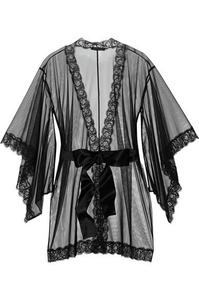 蕾丝边饰绢网睡袍