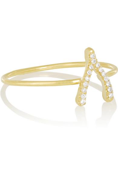 18K 黄金钻石许愿骨造型戒指