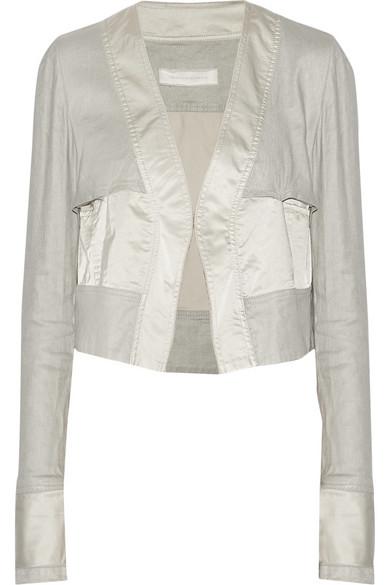 短款缎布和弹力斜纹布外套