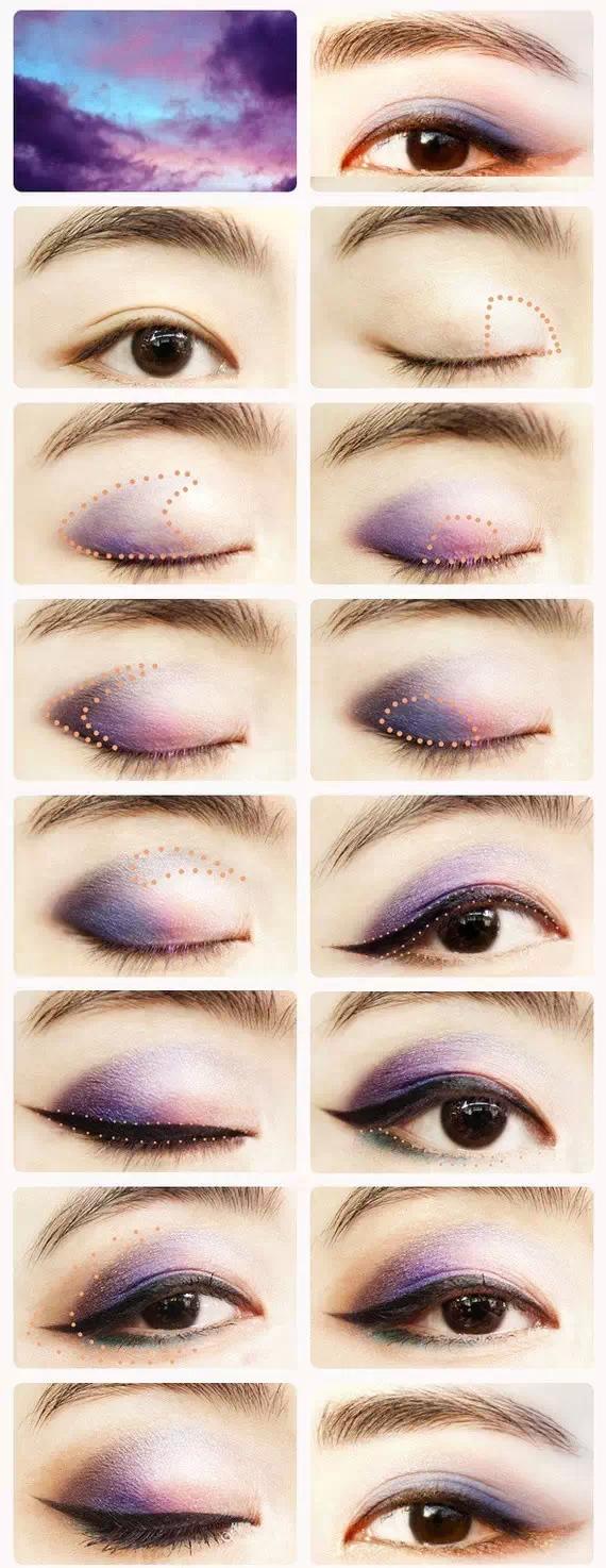 小欧式眼妆   小欧式眼妆又名小倒勾。是从后眼尾位置开始从双眼皮褶皱线位置向内眼角画一条结构线,到眼球中轴线位置自然消失,以结构线为基准做层次过渡。不能采用颜色过浅的眼影做过渡,会显脏而且不容易制造层次感。小欧式的眼妆也适合不肿的单眼皮,而对于单眼皮的人来说,欧式线的位置描画非常重要。