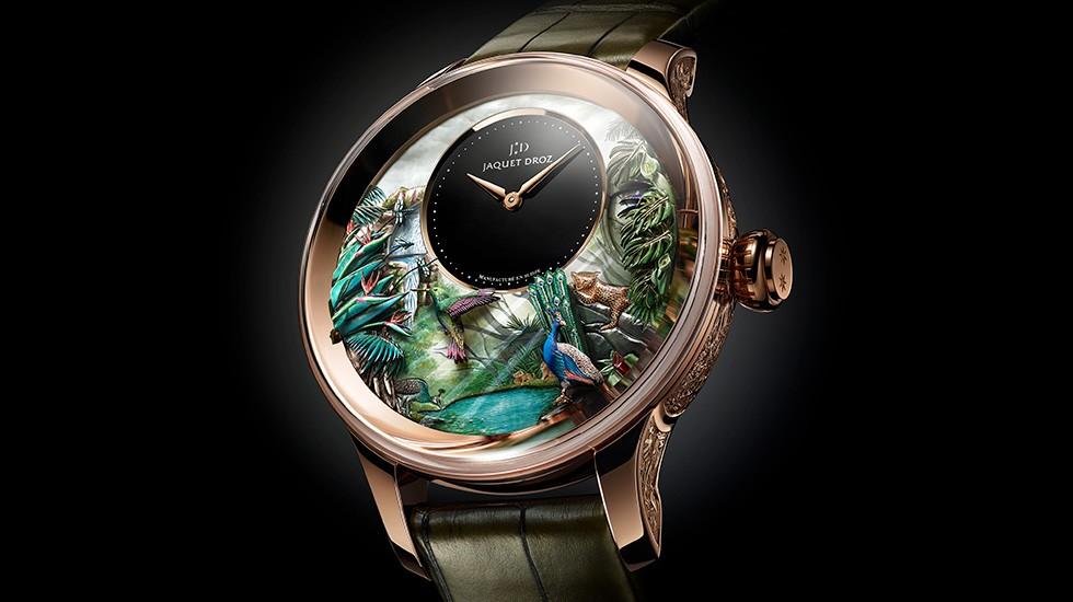 雅克德罗的自动玩偶展览上 见到了全球首发的热带风情报时鸟三问腕表