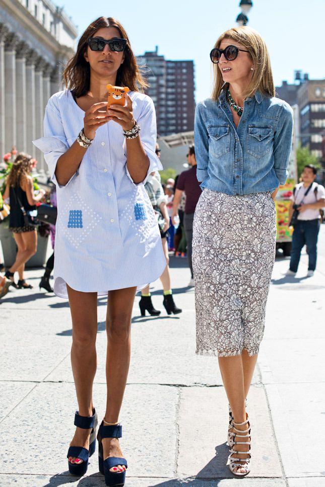 5种实用搭配 蕾丝裙 牛仔衬衫图片