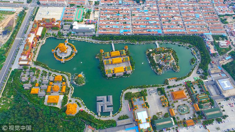 山东省蓬莱市,从空中俯瞰蓬莱三仙山风景区.