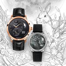 格拉苏蒂原创中秋推荐表款-偏心月相大日历腕表搭配偏心月相女士腕表