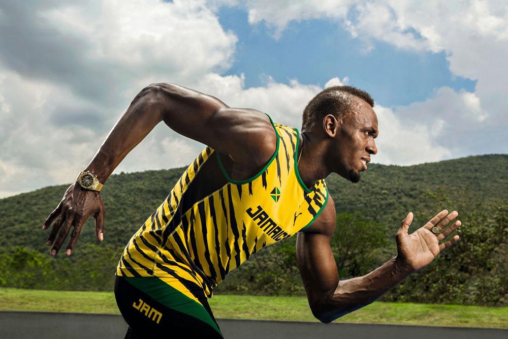 """瑞士顶级腕表品牌HUBLOT宇舶表特别打造两款Big Bang Unico尤塞恩·博尔特限量腕表,致敬世界第一飞人—— HUBLOT品牌大使尤塞恩·博尔特( Usain Bolt ),于分秒之间见证人类对极限的挑战。这位获得无数殊荣的 """"世界上跑得最快的男人""""的冲刺瞬间必将成为全世界最为瞩目的时刻,他将向由他自己保持的世界纪录发起极速冲刺!"""